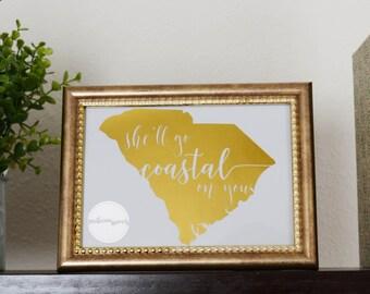 Southern Surcees Kenny Chesney She'll Go Coastal Foil Print