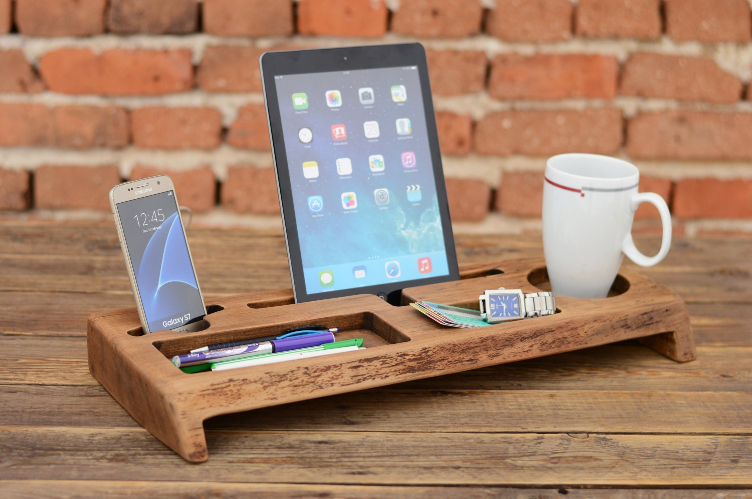 Wooden desk organizer office organizer phone station solid - Wood desk organizer ...
