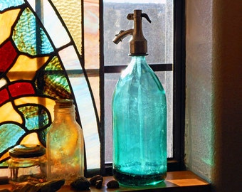 Vintage Teal Blue Glass Seltzer Bottle / European Made Glass Syphon Bottle