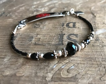 Black and Silver Medical Bracelet - Includes FREE Medical tag with Engraving