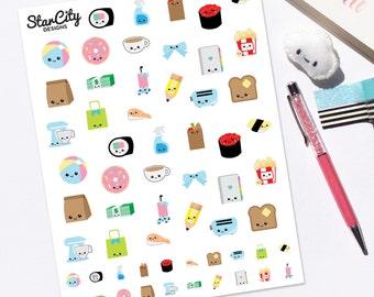 Printable Kawaii Stickers, Kawaii Planner Stickers, Any Planner, Kawaii Graphics, Cute Kawaii stickers, Kawaii printable stickers