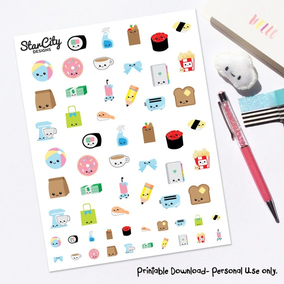 Preferenza Printable Kawaii Stickers Kawaii Planner Stickers Any JM32
