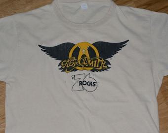 1976 AEROSMITH vintage concert 70's Tour rare original rock-n-roll t-shirt 1970s Band (L/XL) vtg Steven Tyler Joe Perry tee tshirt Gift