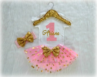 Baby Girl First Birthday Outfit, Pink and Gold Polka dot Glitter with Custom Name, Tutu Headband Set, Short and Long Sleeve Bodysuit Tshirt