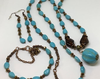 Copper and Turquoise Necklace , Bracelet and Earrings Set .