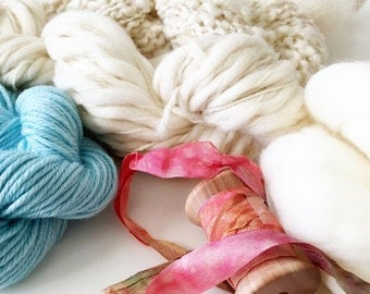 Weavers | Dyers Yarn Pack . Natural Undyed Yarns . Crochet Knitting Weaving Dyeing . Merino . Mohair . Boucle . Roving