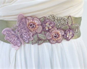 Bridal Sash-Wedding Sash in Blush, Lavender And Moss With Pearls And Crystals, Woodland, Wedding Dress Sash