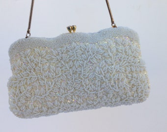 Vintage Beaded Evening Bag In Ivory,  Bridal Purse, Clutch, Bridal Evening Bag