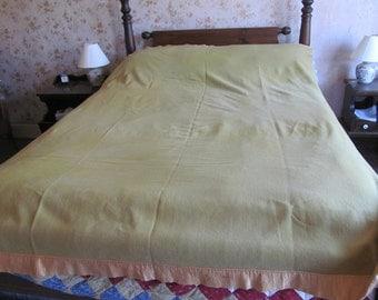 Bloomingdales 100% Wool Blanket The Blanket Shop Made in England Sage Green Wool Blanket Full Size Blanket Double Bed Wool Blanket