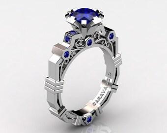 Caravaggio Modern 10K White Gold 1.0 Ct Sri Lanka Blue Sapphire Engagement Ring R624-10KWGNBS