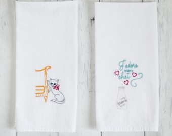 flour sack towels - paris set 3
