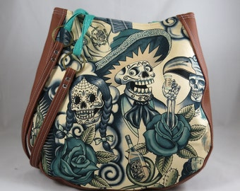 Sugar Skull Blue Tattoo Contigo Handmade CHARLA Over the Shoulder Purse with Teal Lining