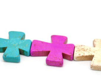 Howlite Cross Beads, Multicolored Cross Beads, 36mm x 30mm Howlite Beads, 1 Strand