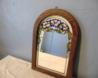 Stained Glass Mirror Wood Frame With Flowers