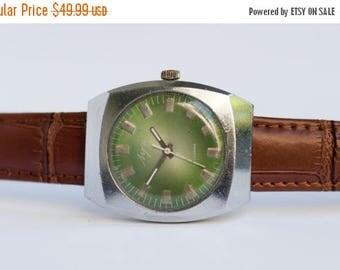 "ON SALE Vintage Watch ,Soviet watch ,Green watch, Russian watch, Mens watch, Mechanical watch, silver watch -""Luch"""