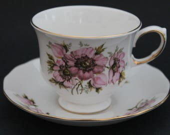 "Queen Anne Bone China Teacup and Saucer Set ""Pattern Number 8470"""
