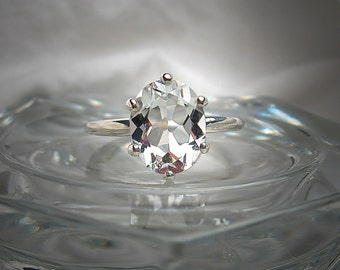 Beautiful Natural White Topaz 10x8mm Oval Cut Lower Profile Solitaire .925 Sterling Silver Ring Made to Order