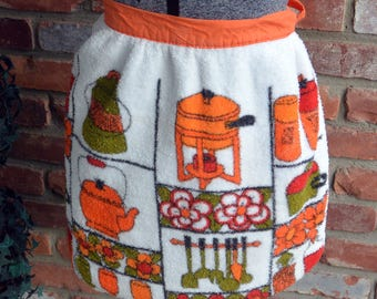 1970's Terry Half Apron - Cotton, Orange & Green, Fondue Pot Tea Kettle - Vintage - Fabulous!