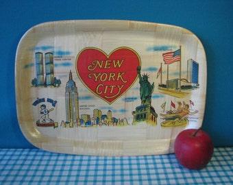 Bamboo Lacquer Tray - New York City Souvenir - Kitsch - NYC - Vintage 1970's