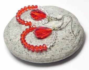 Dangle Earrings Drop Earrings Long Chandelier Earrings Red Beaded Earrings Boho Beadwork Bohemian Gypsy Gift Women Handmade Fashion Jewelry