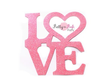 Pink LOVE Glitter Iron On Vinyl Decal-DIY Iron On Patch-Glitter Vinyl Patch- Iron On Letter ...