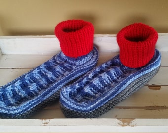 Knitted adult/teen stretchy yarn sock slippers - blue adult booties - cozy house slippers - blue/red/grey cozy house socks - socks