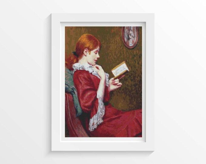 Cross Stitch Pattern PDF, Embroidery Chart, Art Cross Stitch, Woman Cross Stitch, The Good Book by Federico Zandomeneghi (ZANDO01)