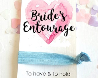 Bride's Entourage Heart Wedding Favour favor Bachelorette Card Hen Party Hair Band FOE To Have & To Hold A107HB