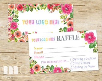 Raffle Ticket, Raffle Business Card, Floral Design, Lula Marketing Branding, Approved Fonts/Colors Floral Design INSTANT DOWNLOAD, PRINTABLE