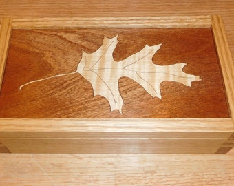 """Made to Order Wooden Marquetry Box """"Oak Leaf"""""""