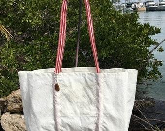 XLG MORGAN Racing Sails vintage recycled sail sea bag tote handmade by SailAgainBags