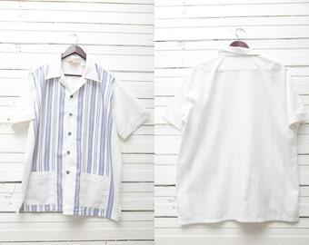 Retro Rockabilly Shirt / 1980's True Vintage White Blue Polo Short Sleeve Shirt / Very Large Size / Mens XL Very Large Summer Surfer Shirt
