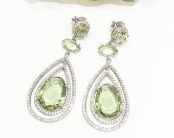 925 Silver and Green Amethyst Earrings