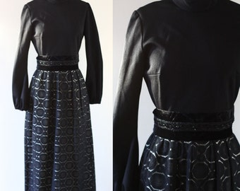 1960s black lace dress // lace maxi dress // vintage dress