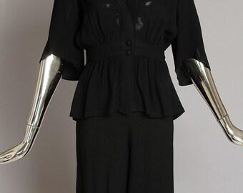 Vintage Ossie Clark Black Culotte Ensemble (2-piece, Jacket and Culotte)