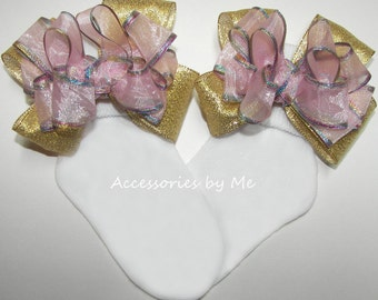 Pink Gold Socks, Rainbow Trim Bow Socks, Pink Organza Gold Metallic Socks, Baby Girls Toddler Princess Sock, Unicorn Birthday Party Bow Sock