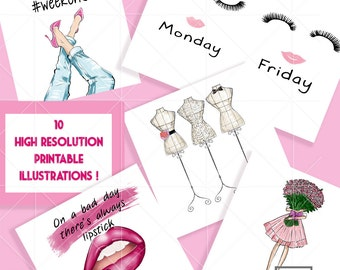 INSTANT DOWNLOAD - Pink Hues - 10  Fashion Illustrations Pack