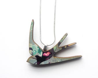 Blue Swallow Necklace -  Swallow Jewellery - Bird Necklace - Laser Cut Wood - Bird Jewellery - Gifts for Women - Gifts For Women - Mum Gift