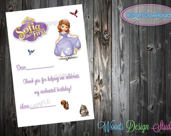 Custom Sofia the First Inspired Birthday Thank You Notes - DIY Printable File - Instant Download