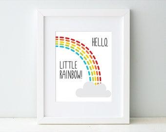 Rainbow Baby Art Print, Rainbow Nursery Wall Art, Hello Little Rainbow Nursery Artwork Decor