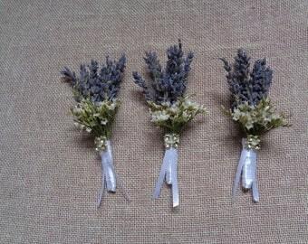 Dried lavender boutonnieres set - 6 winter wedding boutonniers , wedding decor groom men lavender boutonniere