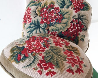 Pair of Victorian Floral needlepoint and velvet cushions/pillows - one large one smaller.