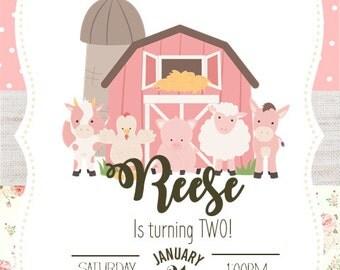 Pink Farm 2nd Birthday Invitation Digital File ONLY