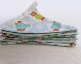 Bunting, Cactus Fabric, Mini Flags, Handmade Fabric Bunting, Gardening Gift, Cactus in pots