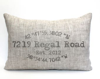 """housewarming gift, longitude latitude pillow, wedding gift, coordinates pillow, gift for her, mother's day gift """"Regal Rd"""""""
