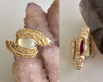 Mother of Pearl and Garnet Sterling Silver and Goldfill Wire Wrapped Ring ~Size 7.5