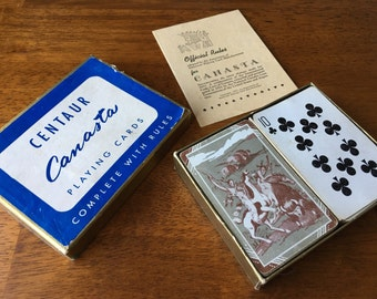 Vintage Centaur Canasta Playing Cards Complete with Rules