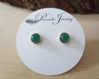 Green onyx studs, green onyx earrings, round green studs, green gemstone studs, green onyx earrings gold, green onyx stud earrings