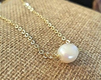 SageAine: Baroque Pearl Solitaire Gold or Silver Necklace, Wedding , Bridal, June Birthstone, Reiki Charged, Crystal Healing