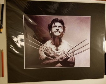 16x20 Inch Matted Print of Original Charcoal Drawing of Wolverine